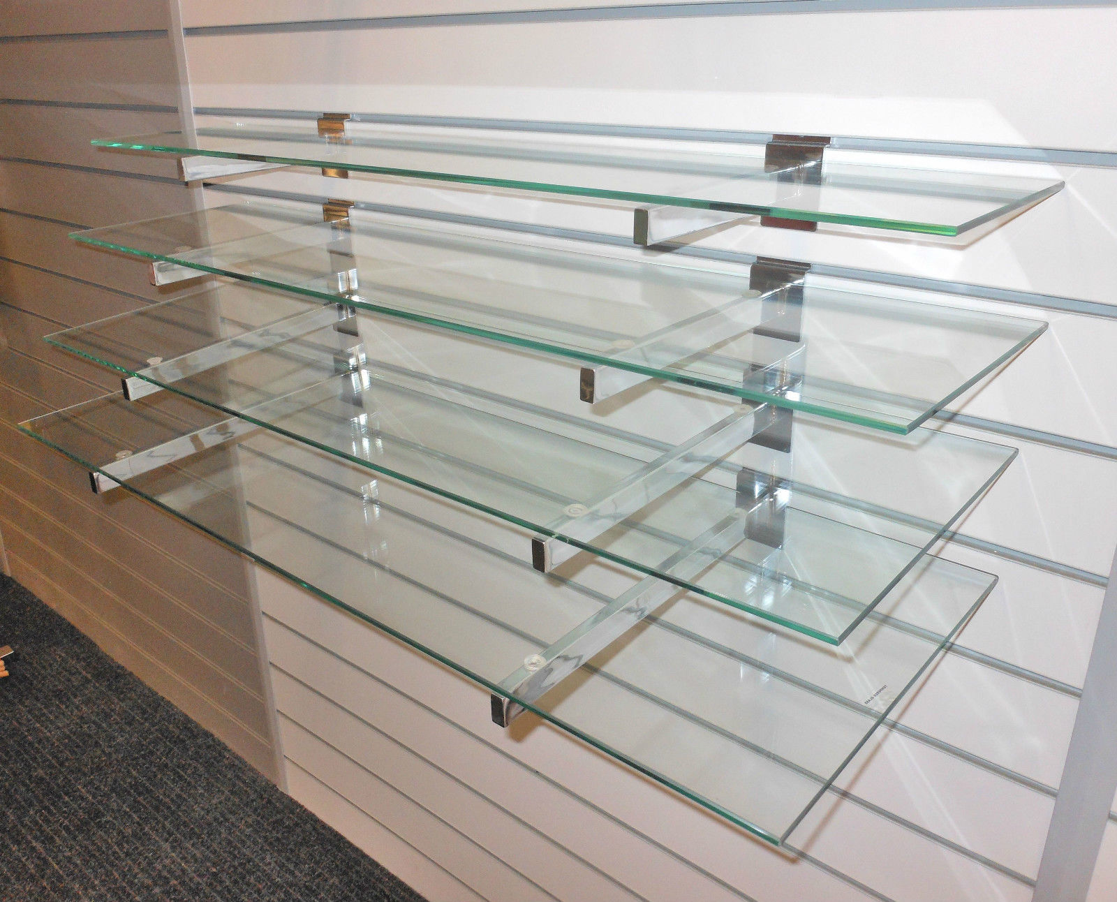 4 toughened glass shelves with or without slatwall brackets wall display new - Glass Shelf Brackets