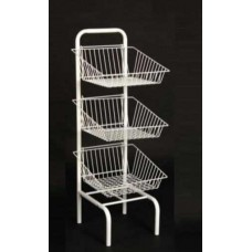 3 Tier White Basket Unit
