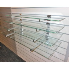 2QTY Glass shelves with slatwall brackets 995mm L