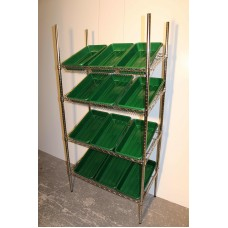 Chrome Wire Sloping Shelving Unit With Trays - Two Sizes