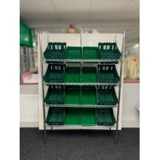 Chrome Wire Sloping Shelving Unit With 8 Small, 8 Deep Trays
