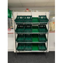 Chrome Wire Sloping Shelving Unit With 4 Small, 12 Deep Trays