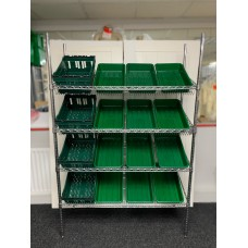 Chrome Wire Sloping Shelving Unit With 12 Small, 4 Deep Trays