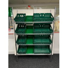 Chrome Wire Sloping Shelving Unit With 4 Small, 4 Deep, 4 Jumbo Trays