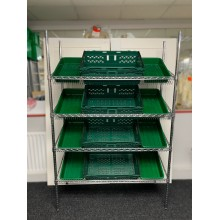Chrome Wire Sloping Shelving Unit With 8 Small, 4 Jumbo Trays