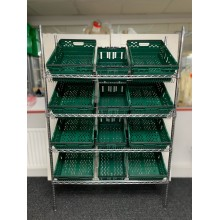 Chrome Wire Sloping Shelving Unit With 4 Deep, 8 Jumbo Trays