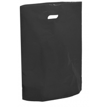 "Black Fashion Carrier Bags Patch Handle 15"" x 18"""