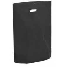 "Black Fashion Carrier Bags Patch Handle 15"" x 18"""