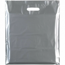 """Silver Fashion Carrier Bags Patch Handle 15"""" x 18"""""""