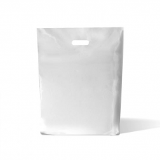 """White Fashion Carrier Bags Patch Handle 15"""" x 18"""""""