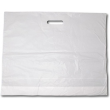 """White Fashion Carrier Bags Patch Handle 22"""" x 18"""""""