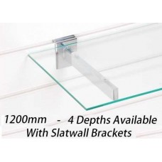 1200mm Toughened Glass Shelf With Brackets