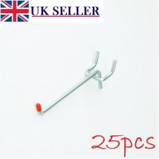 """25 x Single Pegboard Zinc 55mm Hooks 3/4"""" Spaced"""