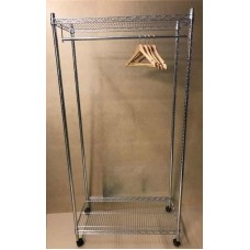 "Chrome Shelving 2 Shelves + 1 Hanging Rail On Wheels 72"" H x 36"" x 18"""