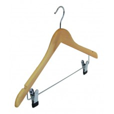 Adult Wooden Hanger With Clips 44cm