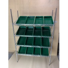 Chrome Wire Sloping Shelving Unit With 16 Trays