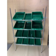 Sloping Shelving Unit With 4 Jumbo and 10 Small Trays