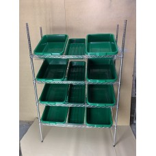 Sloping Shelving Unit With 8 Jumbo and 4 Small Trays