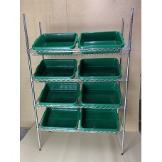 Chrome Wire Sloping Shelving Unit With 8 Jumbo Trays