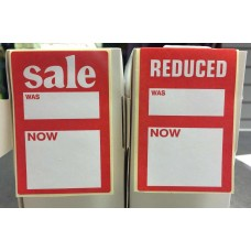 Red and White Sale Reduced Stickers 500
