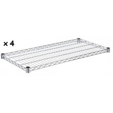 Set Of 4 Chrome Wire Shelves To Make Shelving Unit