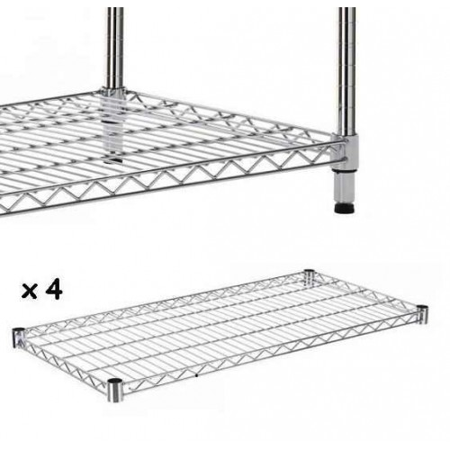 set of 4 chrome wire shelves to make shelving unit - Wire Shelving Units