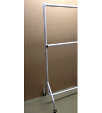 Heavy Duty Adult White Gloss Garment Rail - Double Height. Various Sizes.