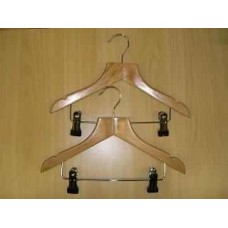 Childrens Wooden Hanger With Clips 30cm